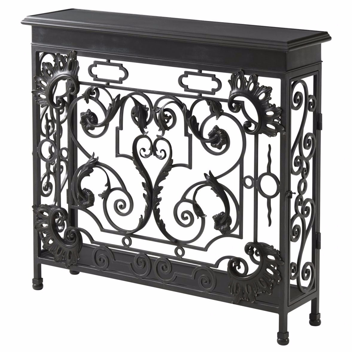 A wrought iron and brass console table