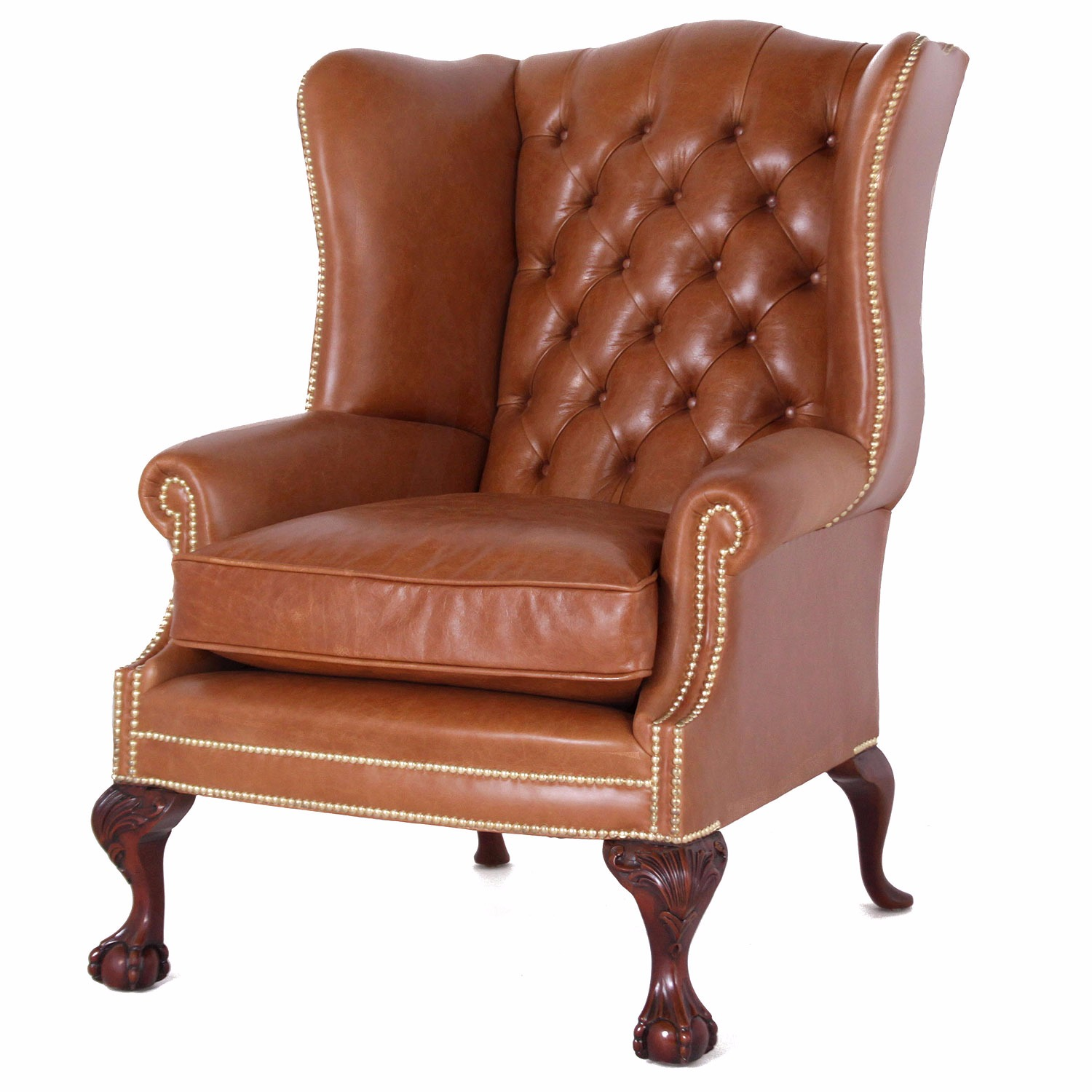 Coleridge buttoned wing chair in tan leather Leather Chairs in