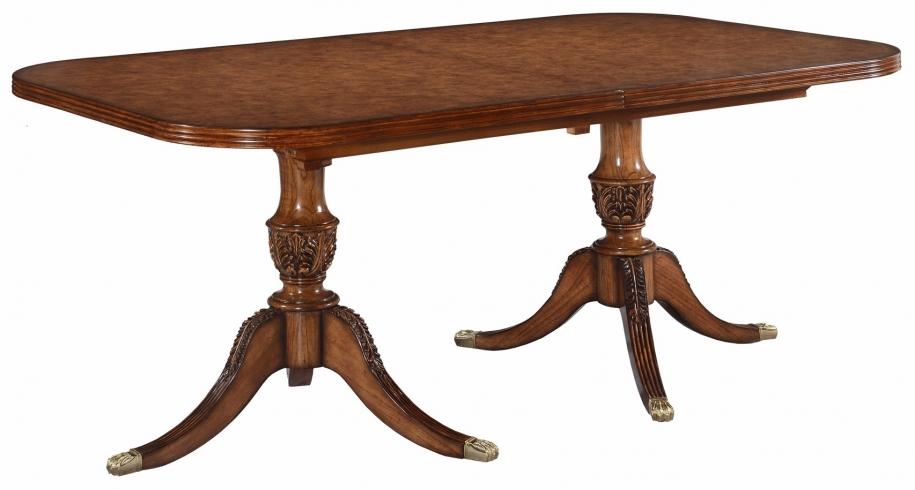 Twin pedestal extending dining table in burr oak