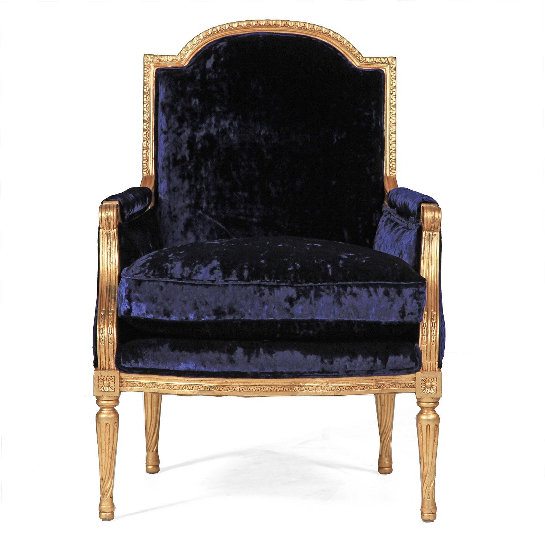 Alexander giltwood chair in Midnight velvet