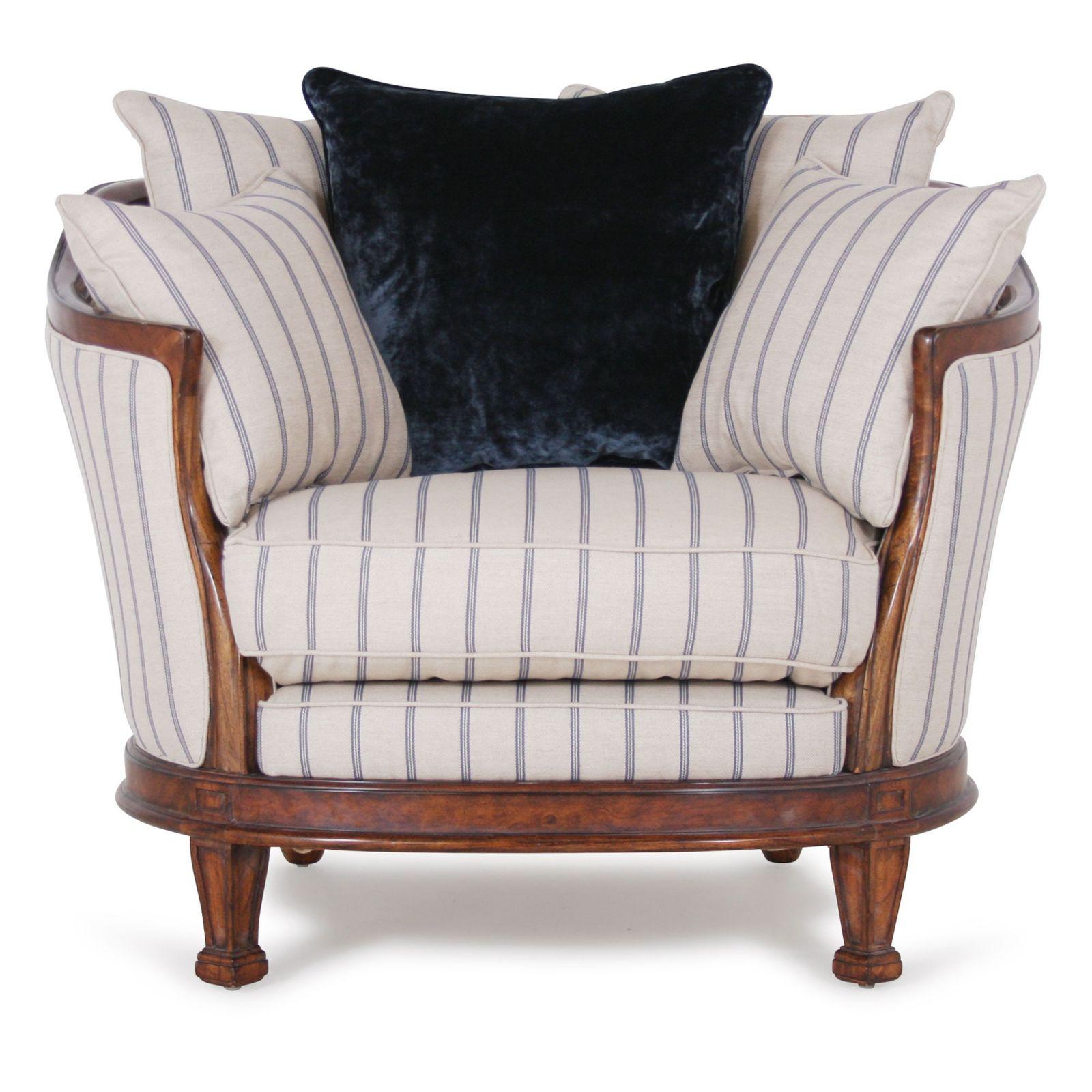 Mauretania Chair with fabric sides in blue Gabriel stripe
