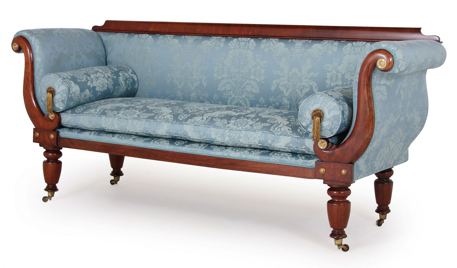 Early Victorian sofa in Gainsborough Chatsworth fabric