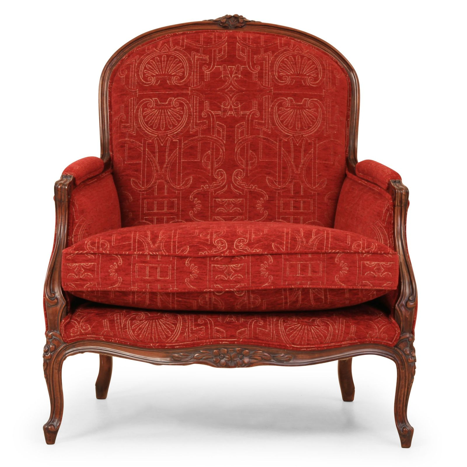 Naples chair in red chenille