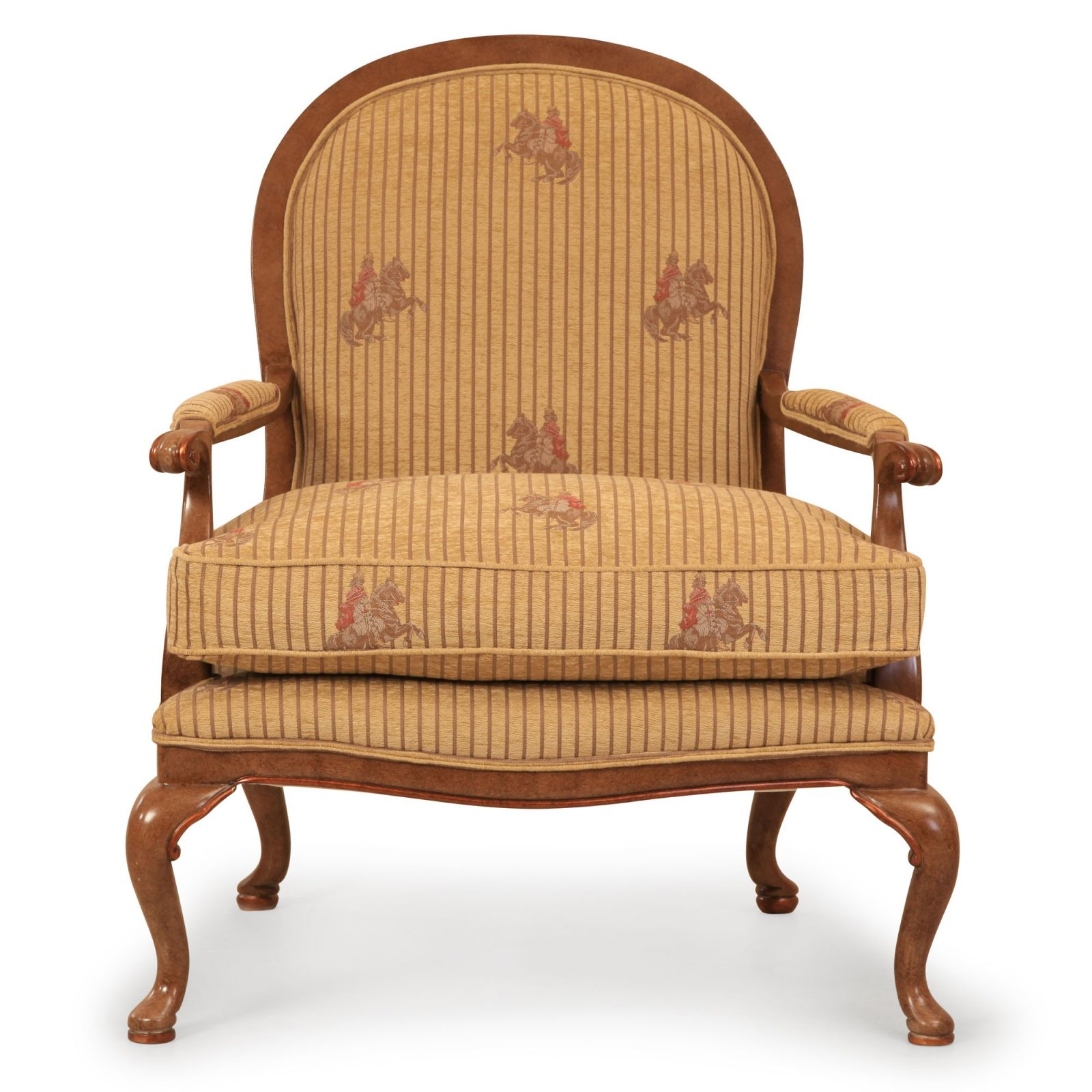 Sicily chair in pale gold striped chenille