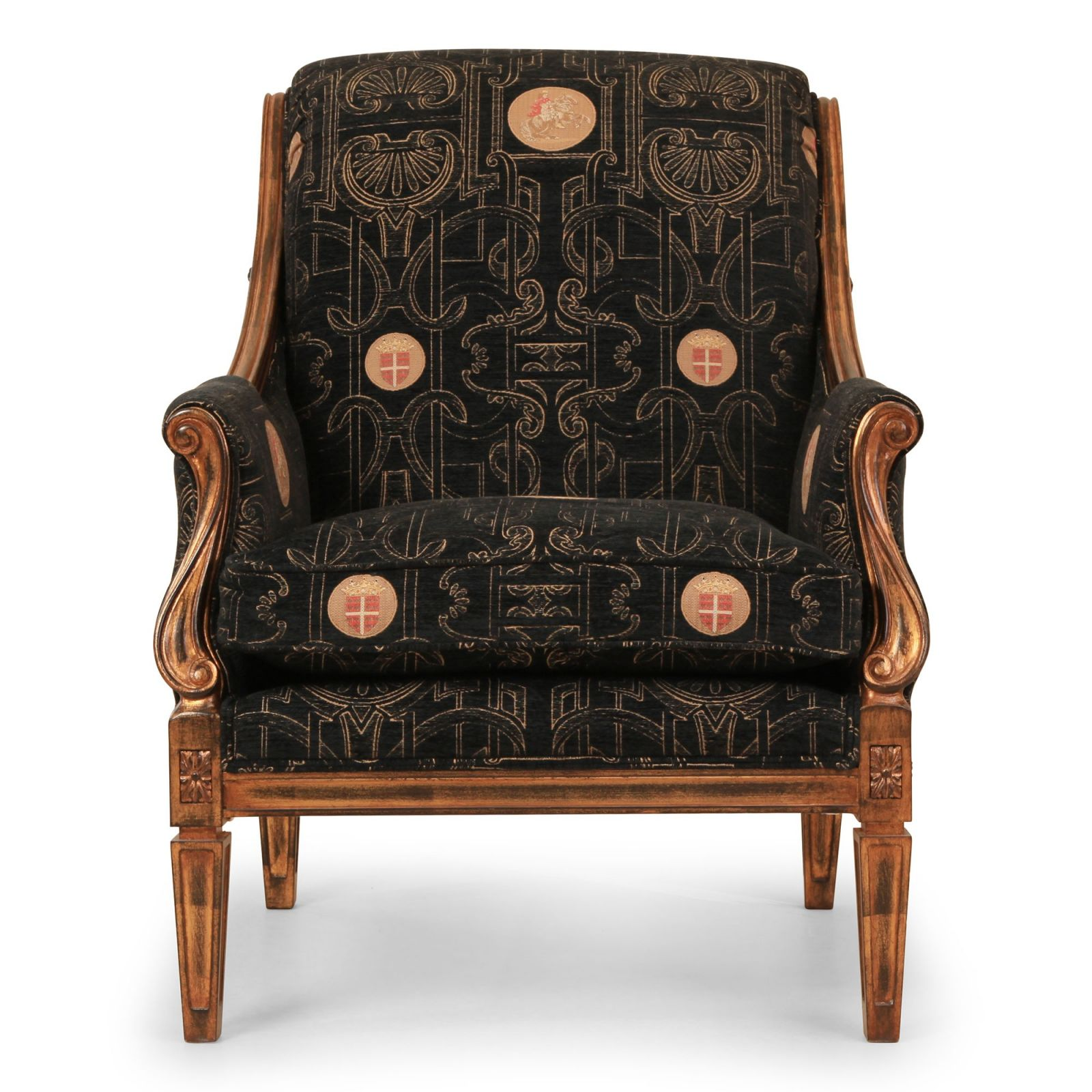 Verona chair in black medallion chenille