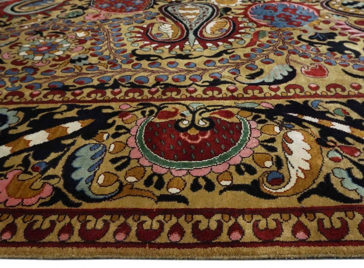 Suzani design silk pile carpet