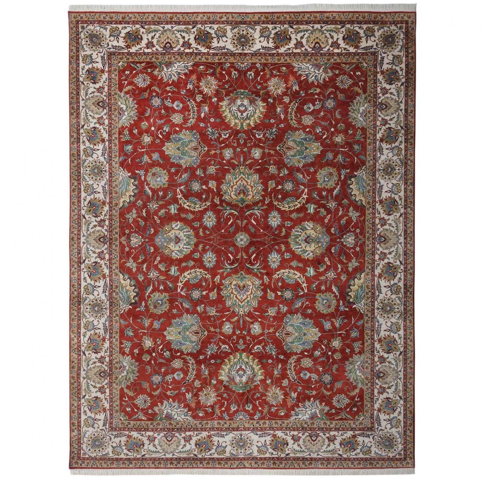 A Fine Tabriz design silk pile carpet