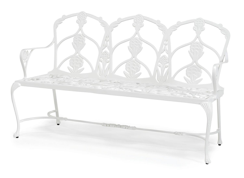 Barrington metal garden bench with seat cushion