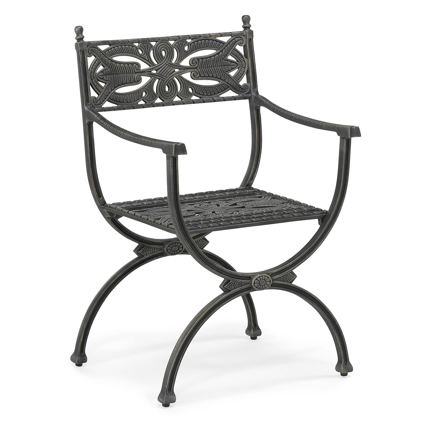 Reptonian metal Outdoor dining arm chair with standard fabric seat cushion