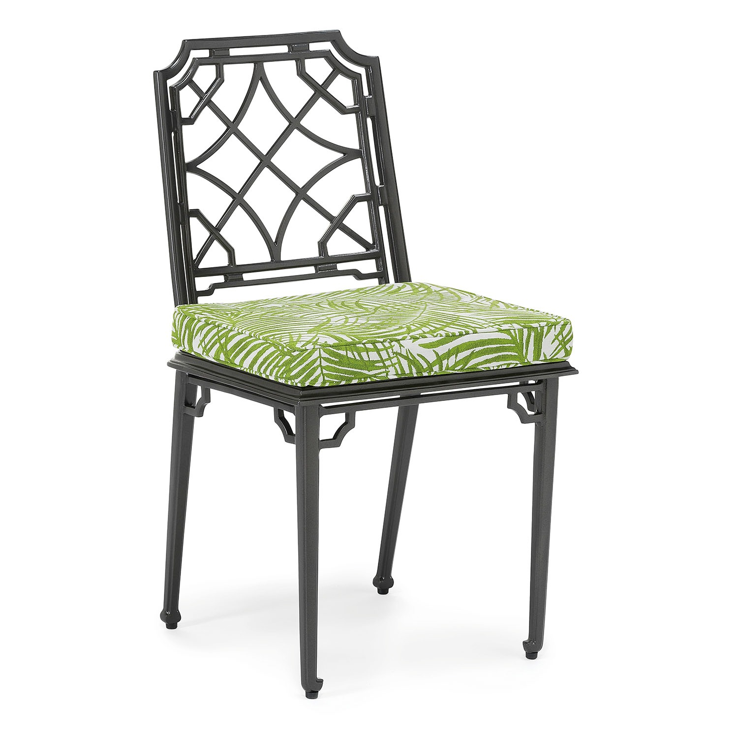 Rissington metal outdoor dining chair with enhanced fabric seat cushion