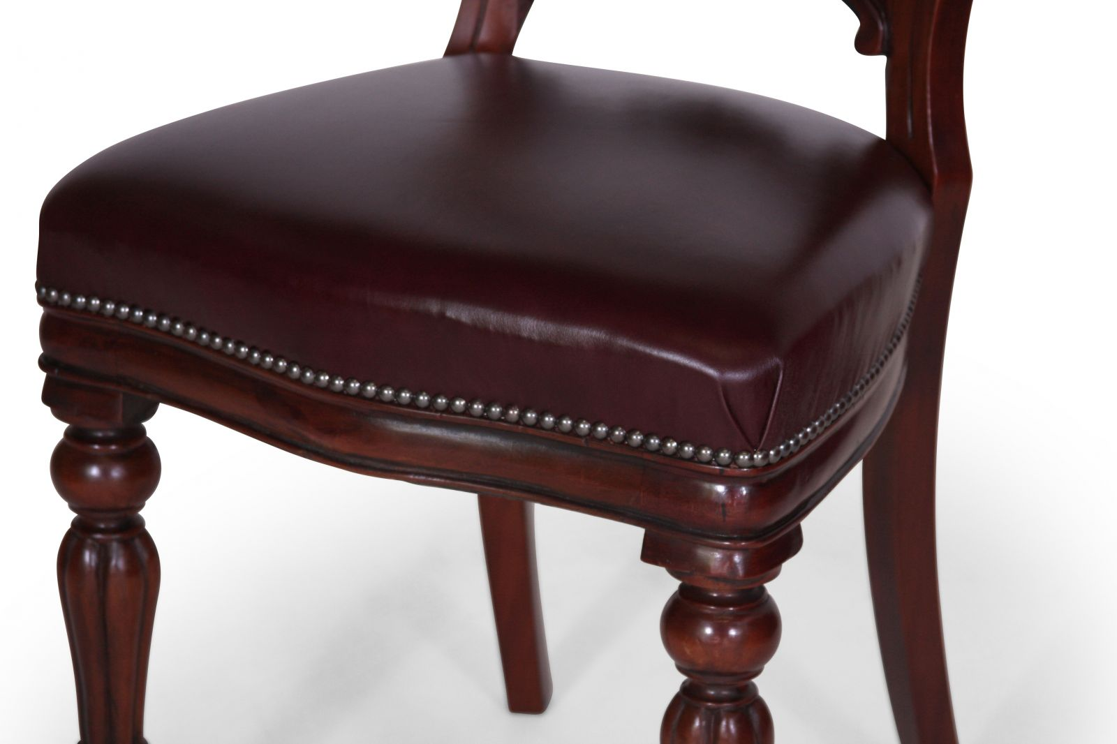 Victorian style balloon back dining chair - in Heritage Dark Oak leather