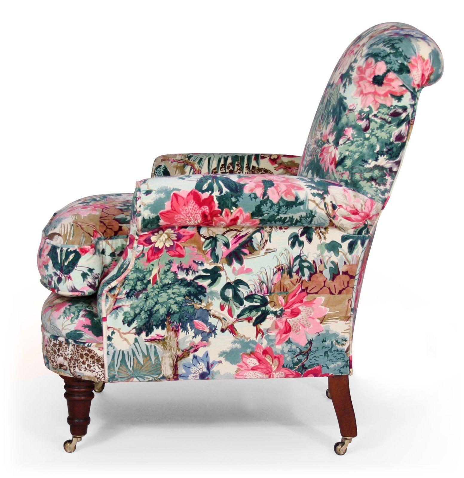 Shelley bedroom chair in Linwood Jungle Rumble velvet