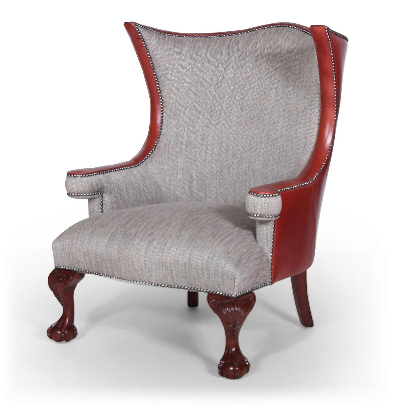 Okeford wing chair in fabric and leather