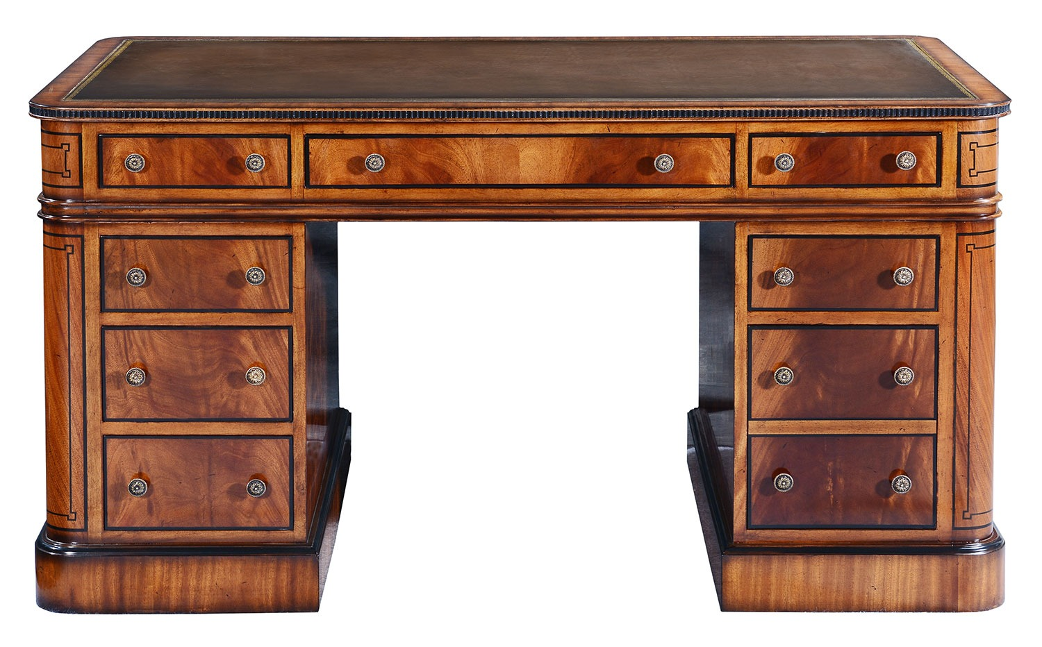 Thomas Hope style mahogany & ebonised pedestal desk