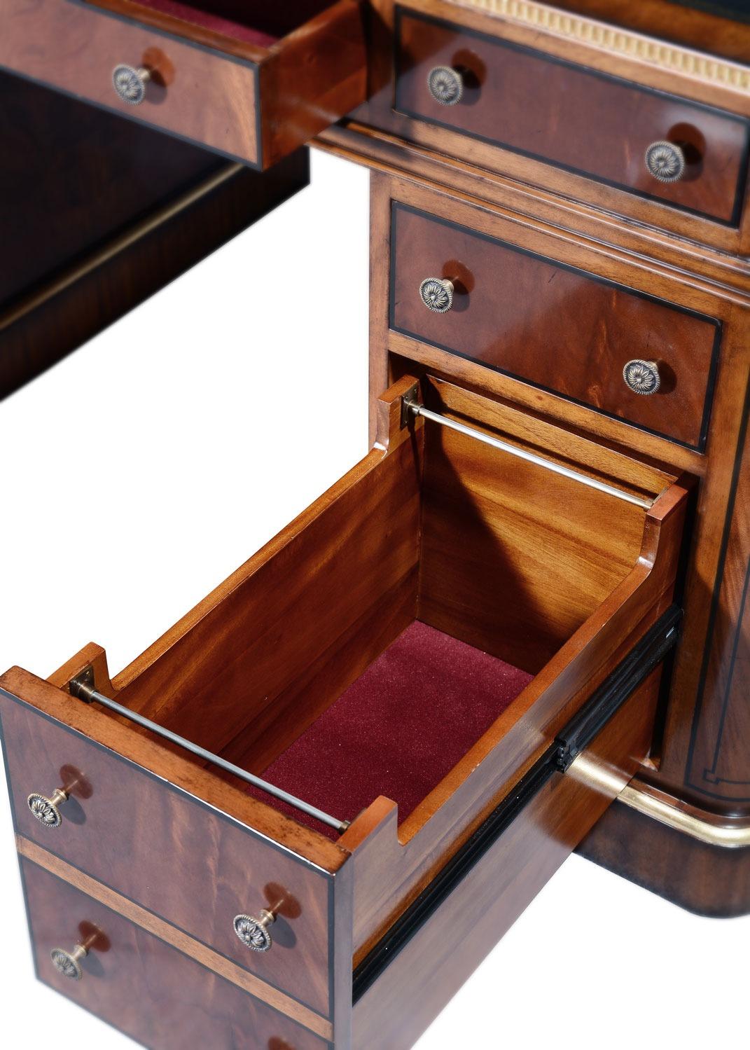 Thomas Hope style mahogany & gilded pedestal desk