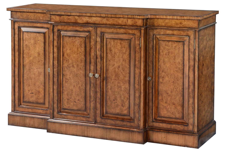 Burr oak Sheraton style breakfront sideboard
