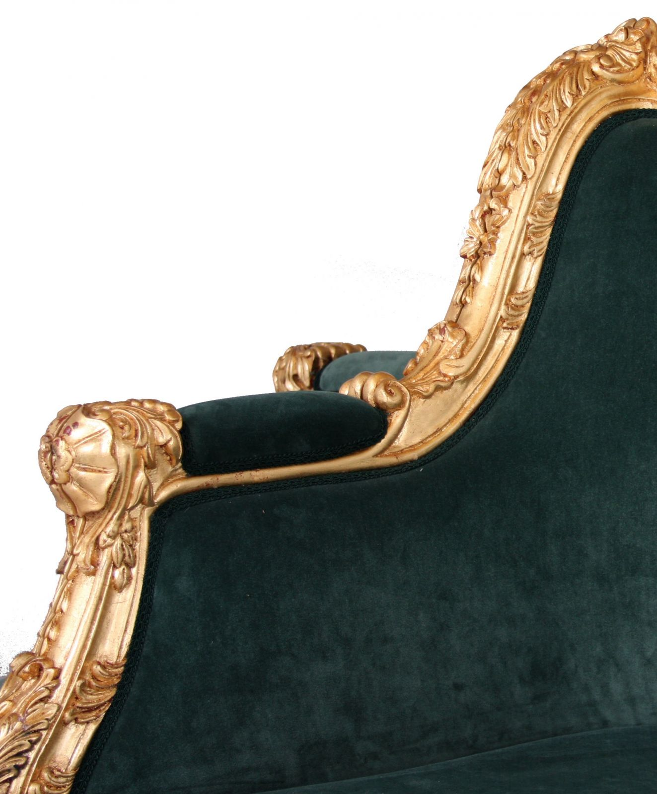 A hand carved giltwood conversation sofa
