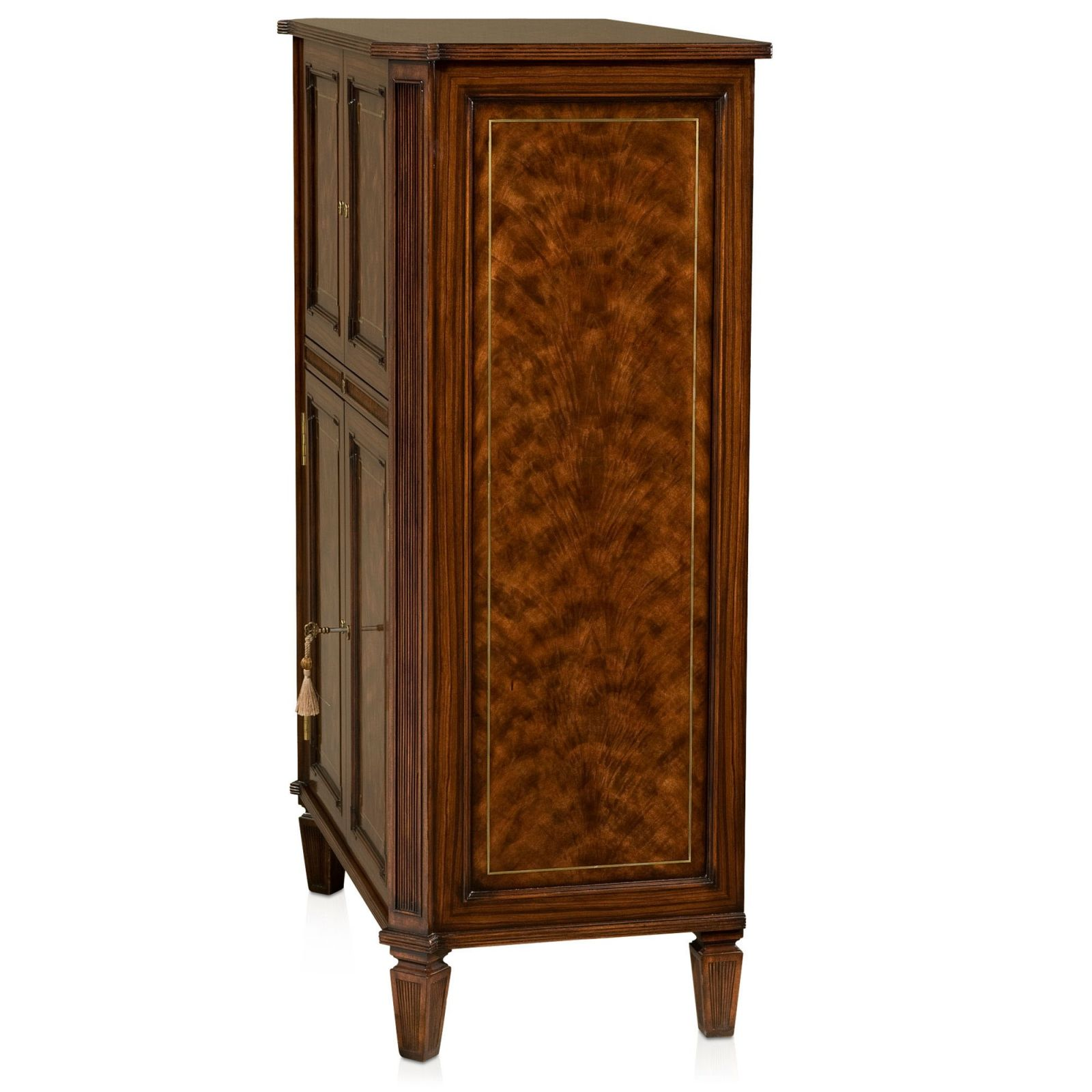 Flame mahogany drinks cabinet with brass inlay - Ex demonstrator