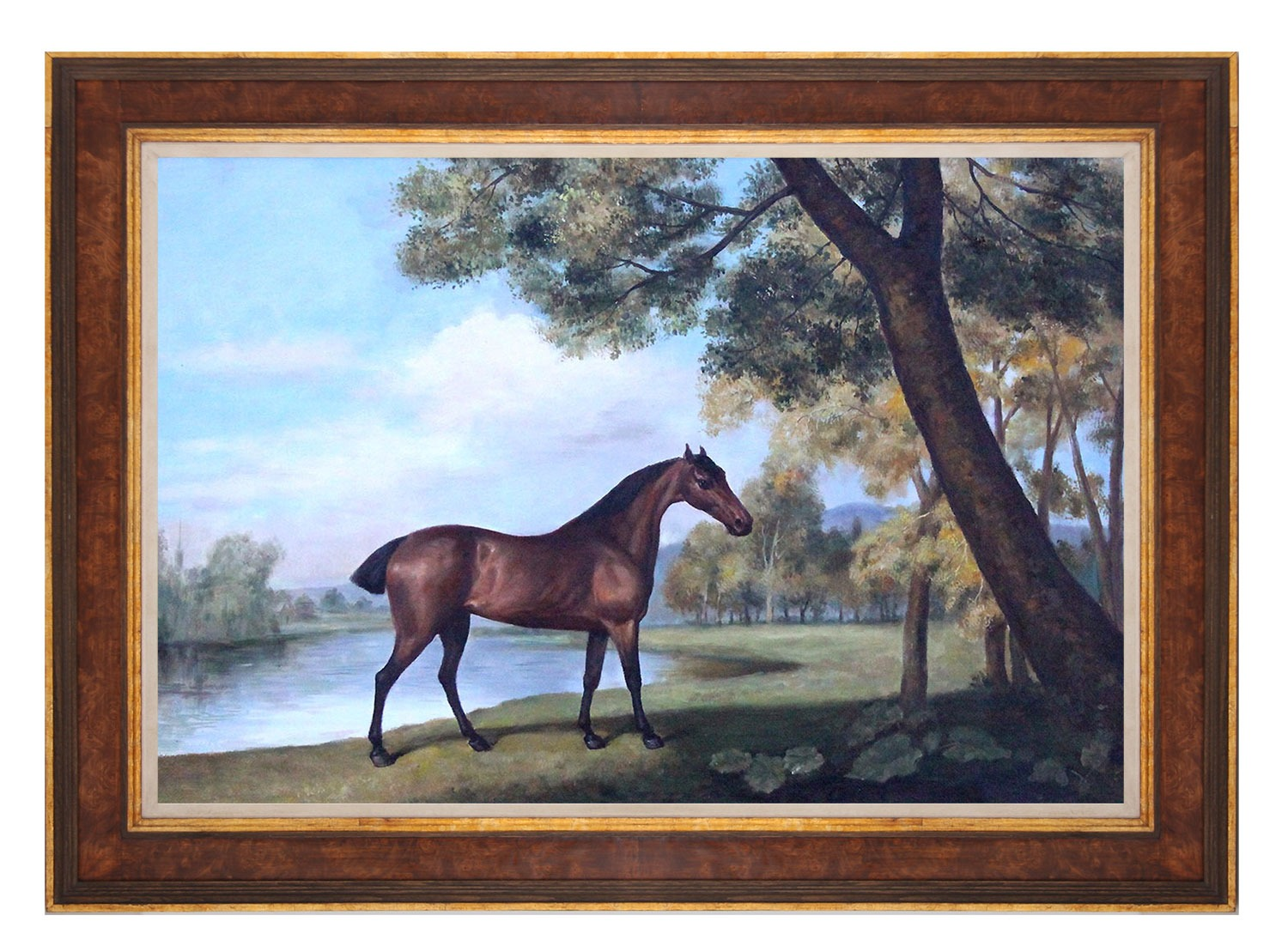 Bay Hunter by a Lake framed oil painting