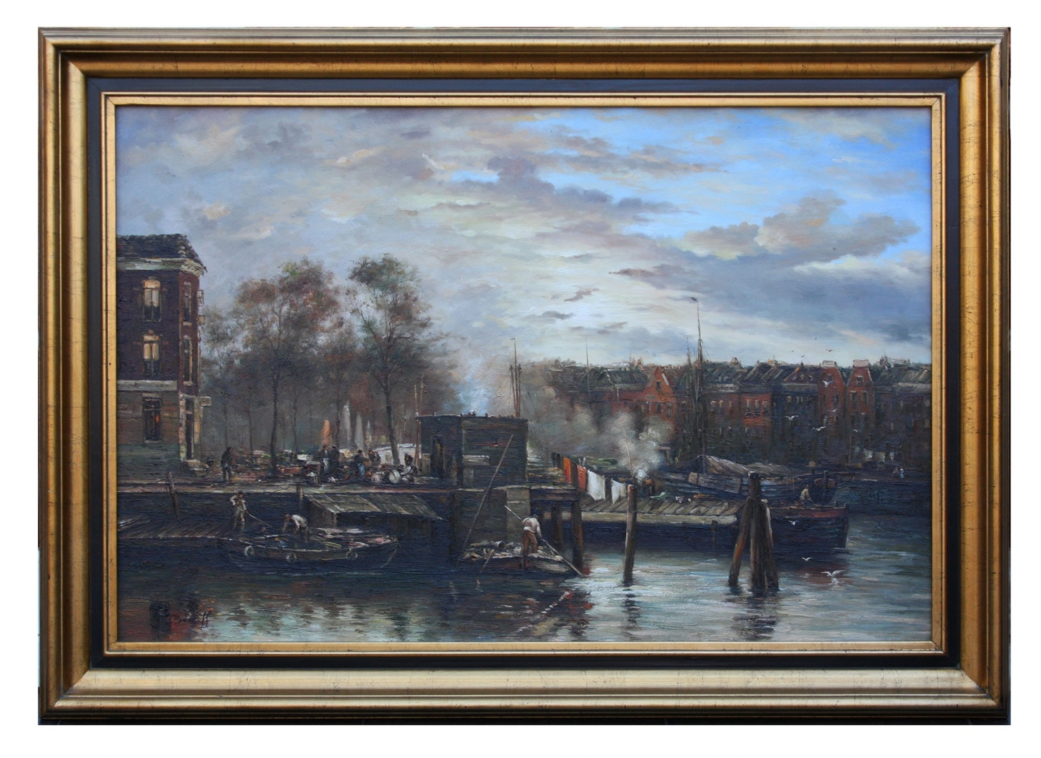 A Dutch harbour scene, framed oil painting