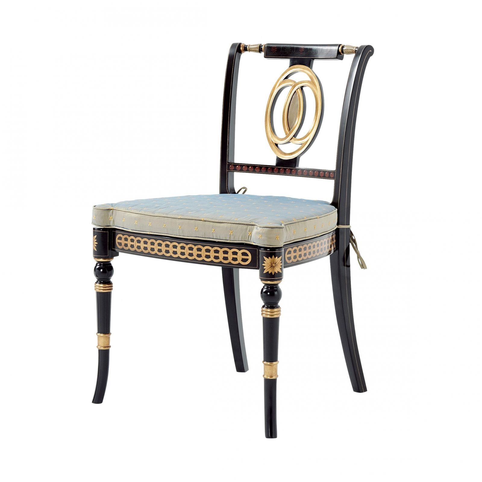 Ebonised and parcel gilt side chair