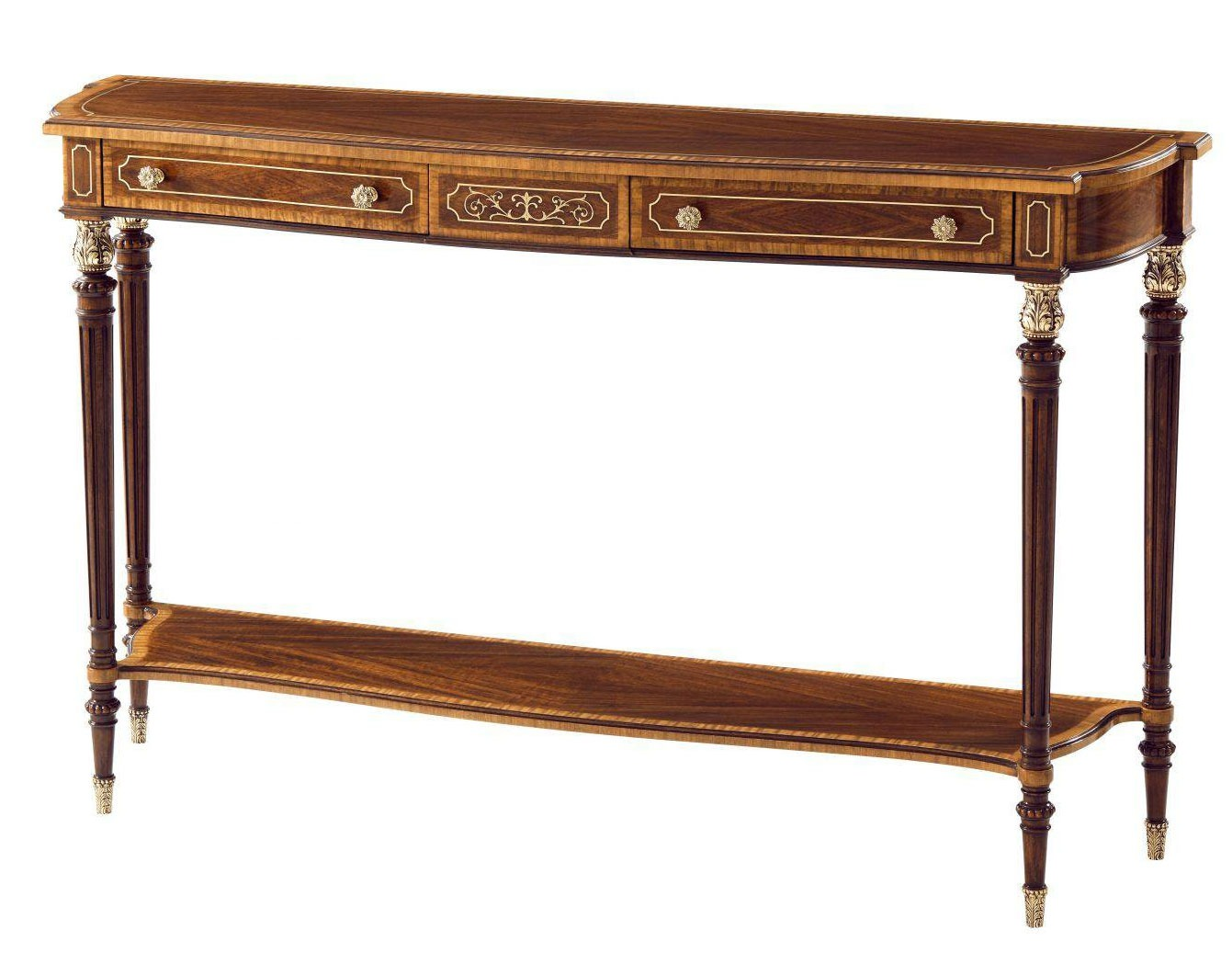High figured veneer and brass console table