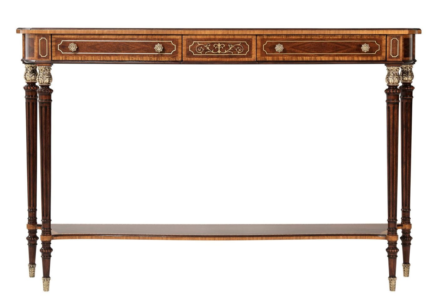 Serpentine brass inlay console table