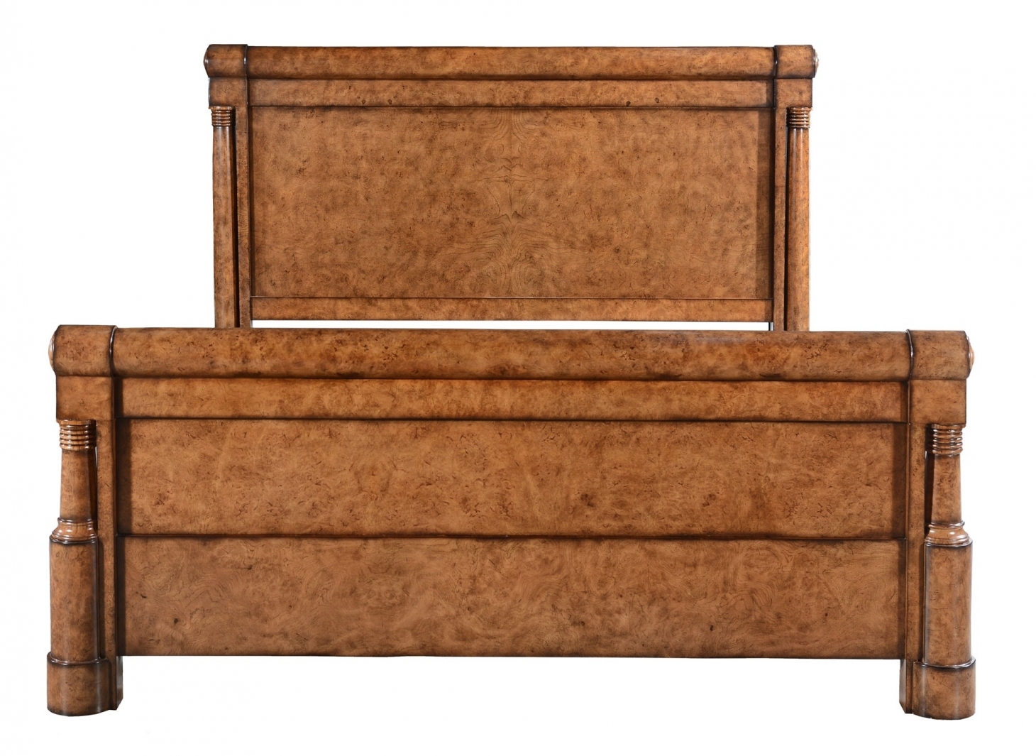 Empire style burr oak bedstead - King
