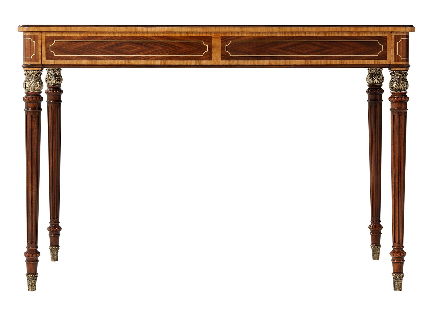 Floral Inlaid Mahogany Desk or Writing Table