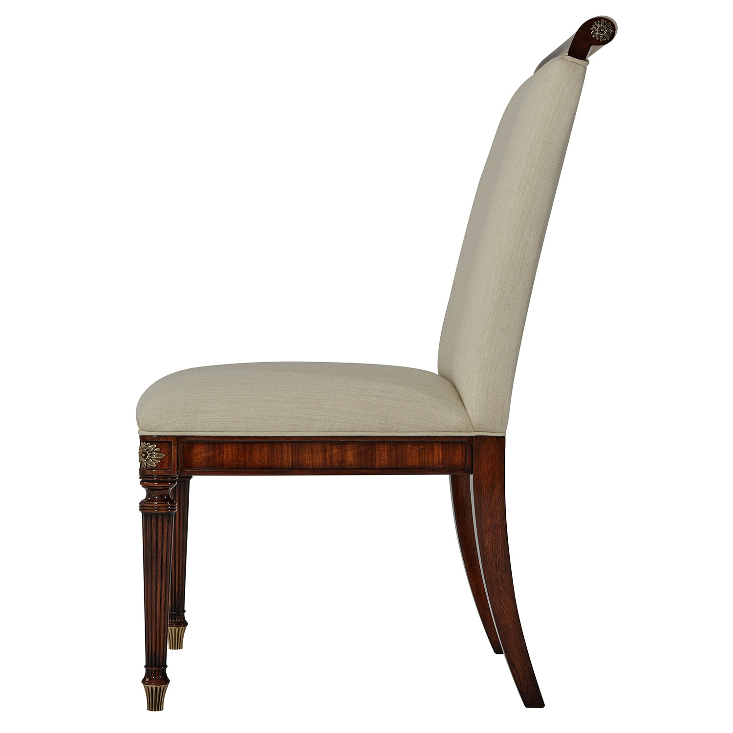 Upholstered Side Chair with Floral Brass Inlay