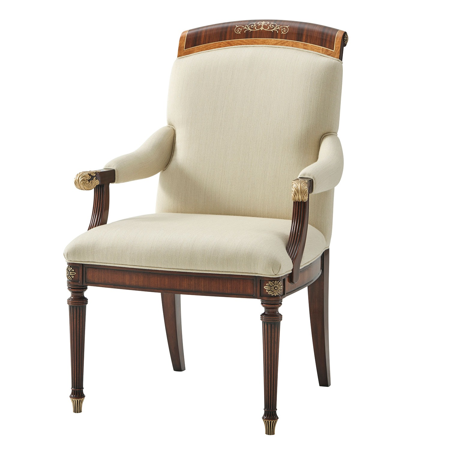 Upholstered Dining Chair with Floral Brass Inlay