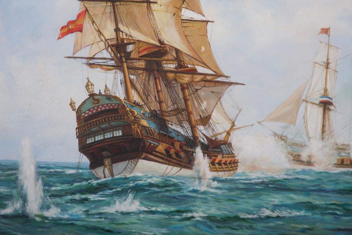 HMS Centurion framed oil painting
