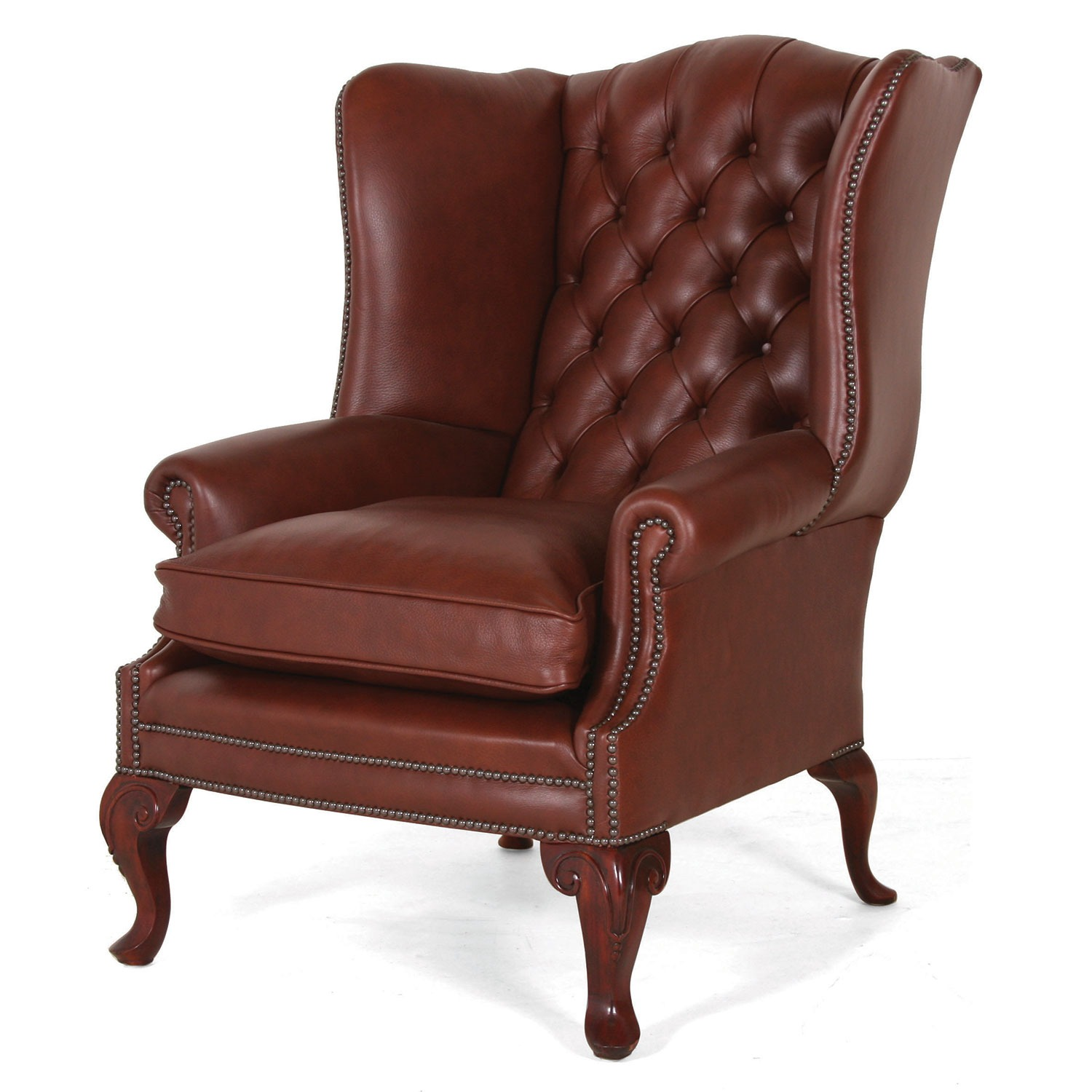 SPECIAL! - Coleridge mahogany leather wing chair on Queen Anne leg