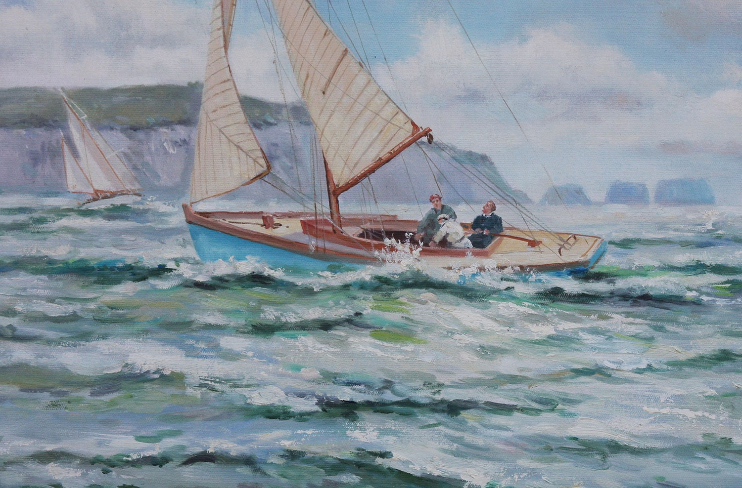 Brisk Weather off the Needles, Isle of Wight framed oil painting