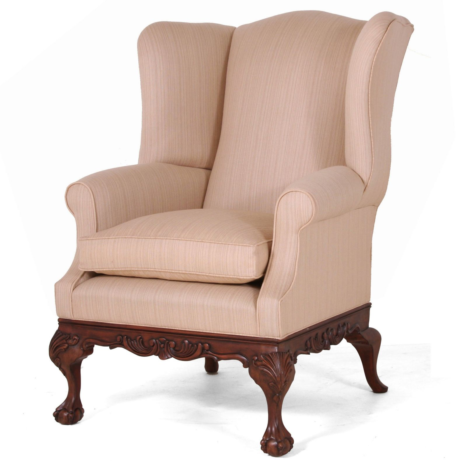 Sonning wing chair in Scottish Wool - Strie Beige