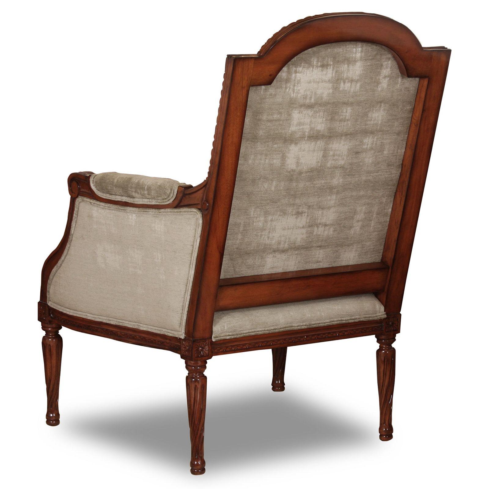 Alexander mahogany chair in worn grey velvet