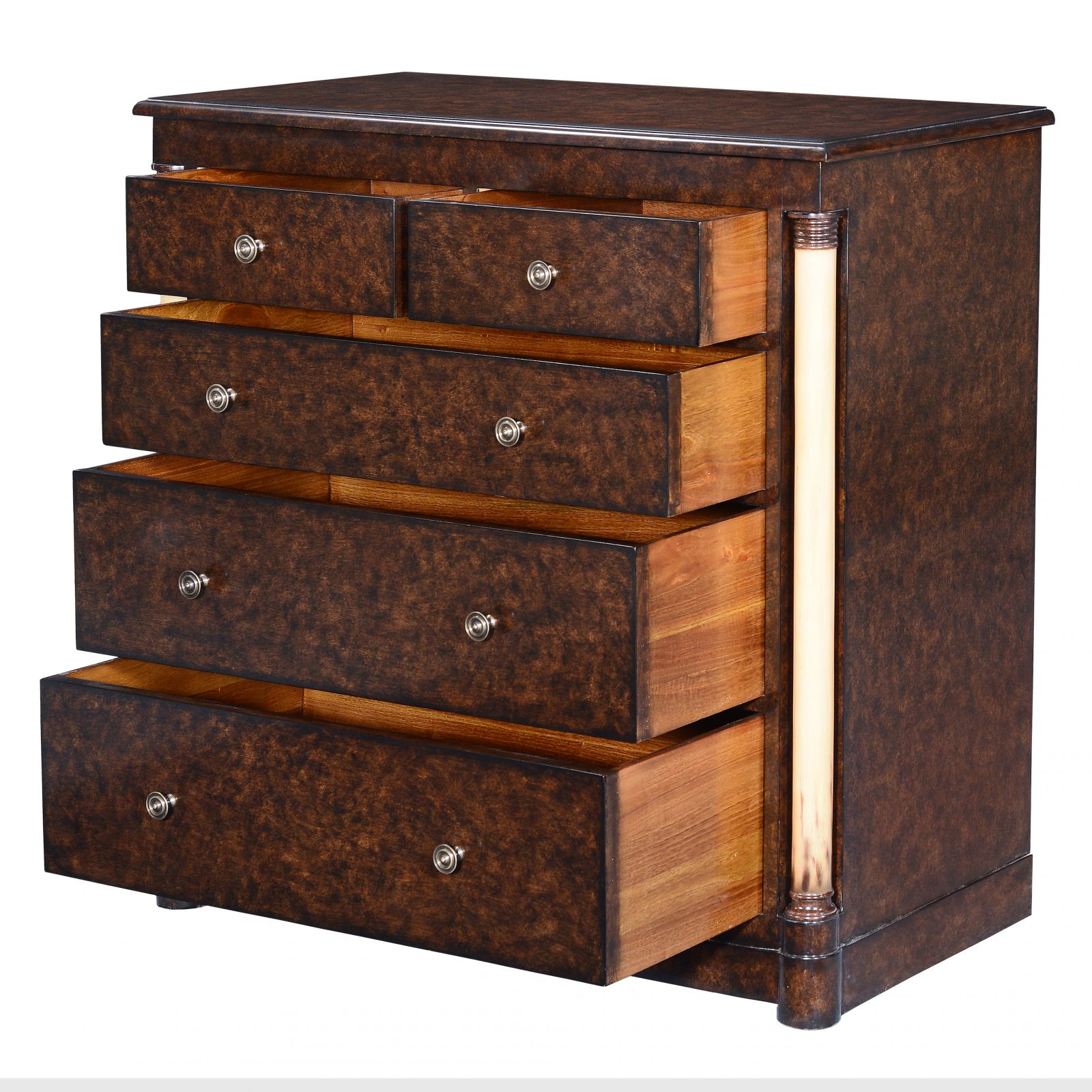 Empire chest of 5 drawers - dark burr oak painted