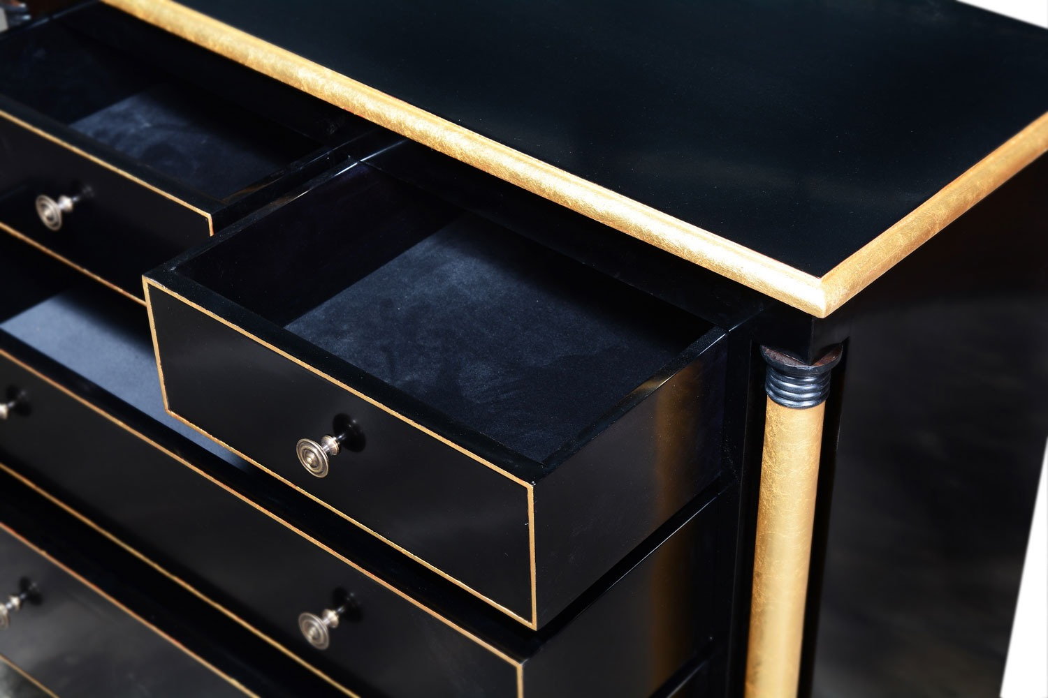 Empire chest of 5 drawers - Ebony and gilt
