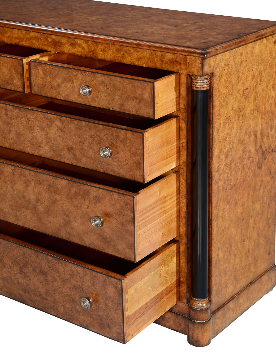 Empire chest of 9 drawers - burr oak with ebony