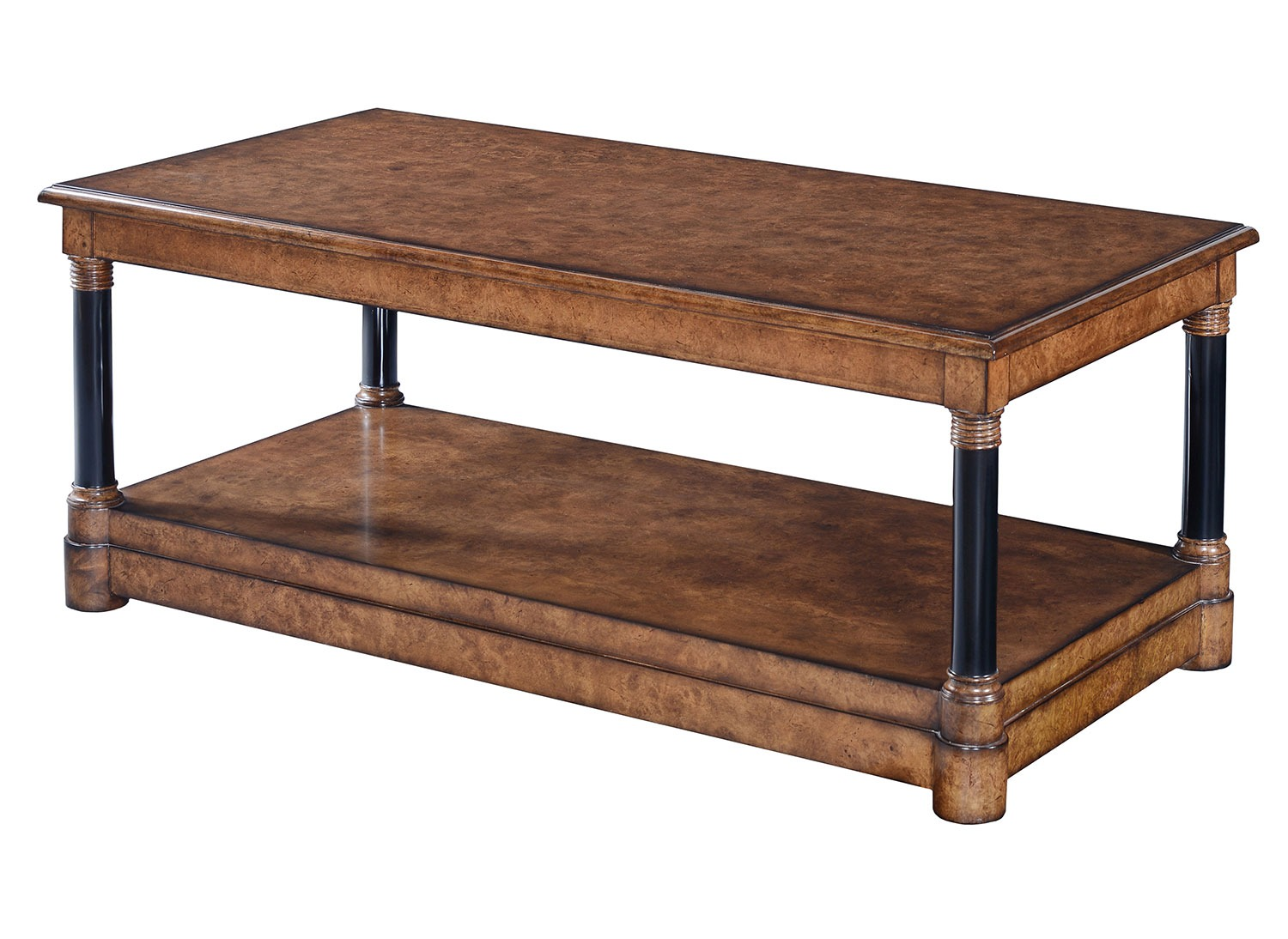 Empire style coffee table - Burr oak with ebonised legs