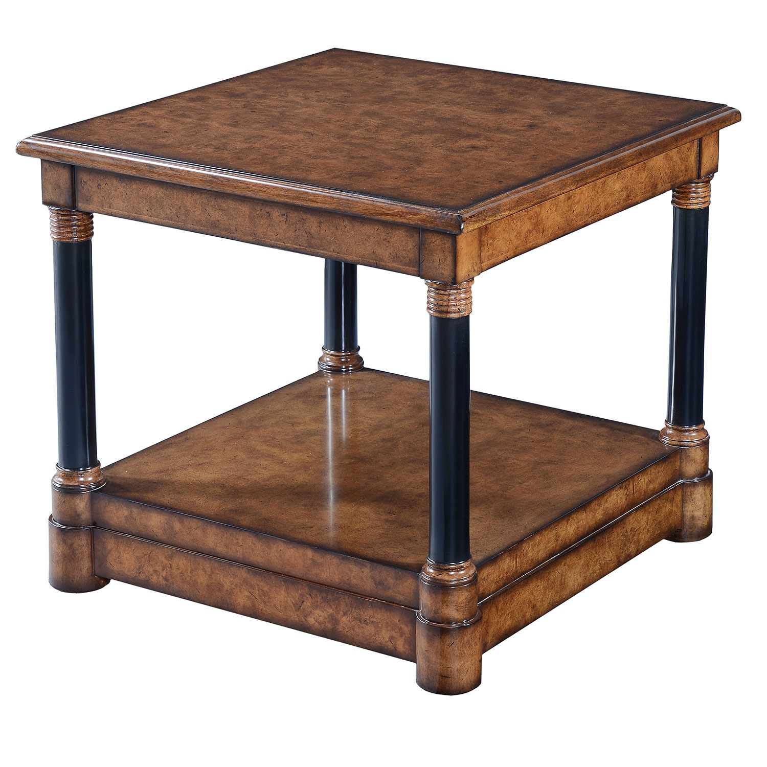 Empire style side table - Burr oak with ebonised legs