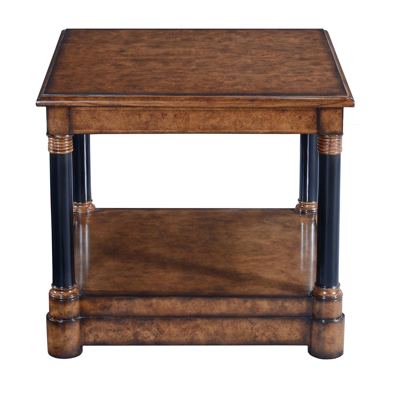 Empire style side table - Burr oak with ebonised legs