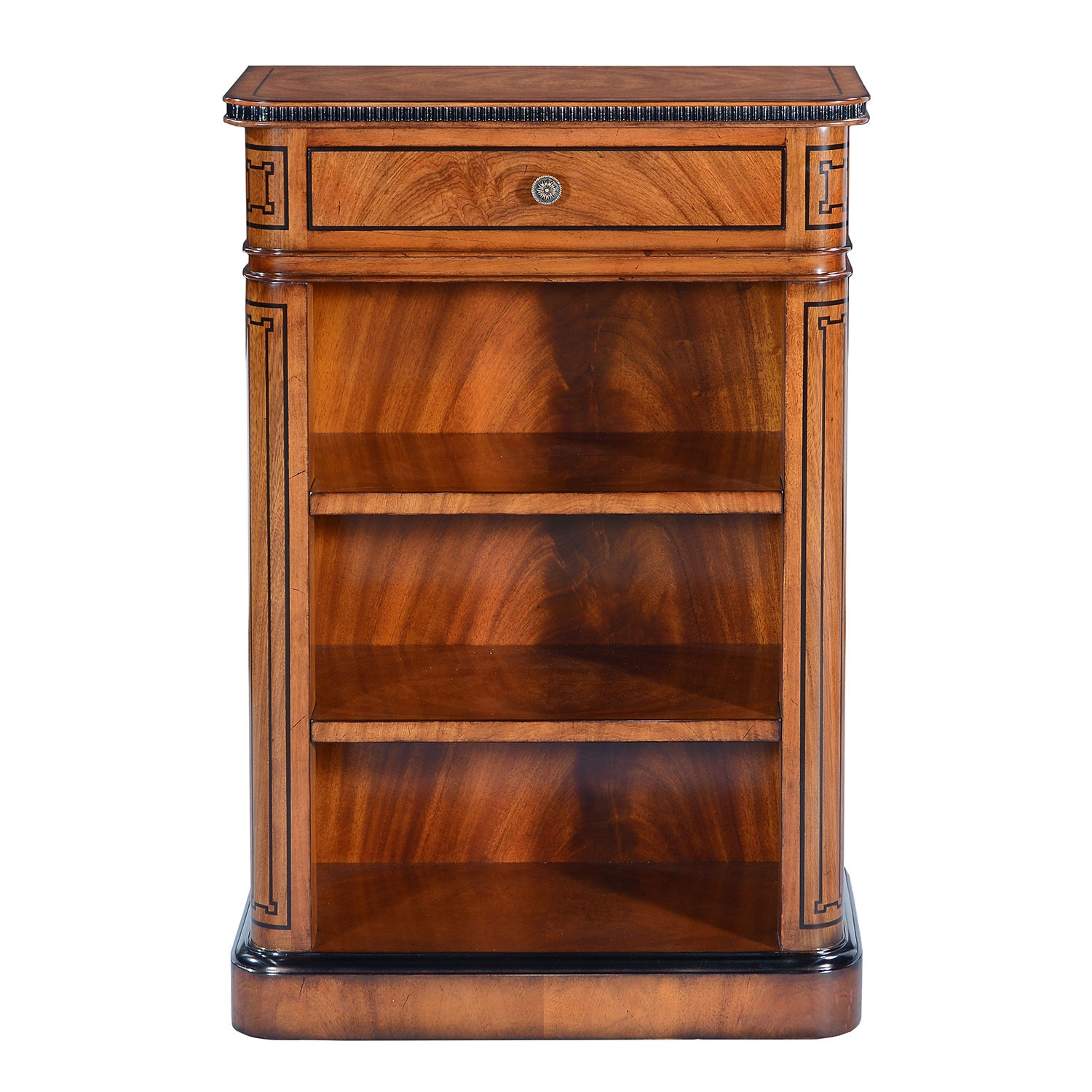 Thomas Hope style mahogany & ebonised open bookcase - 24in