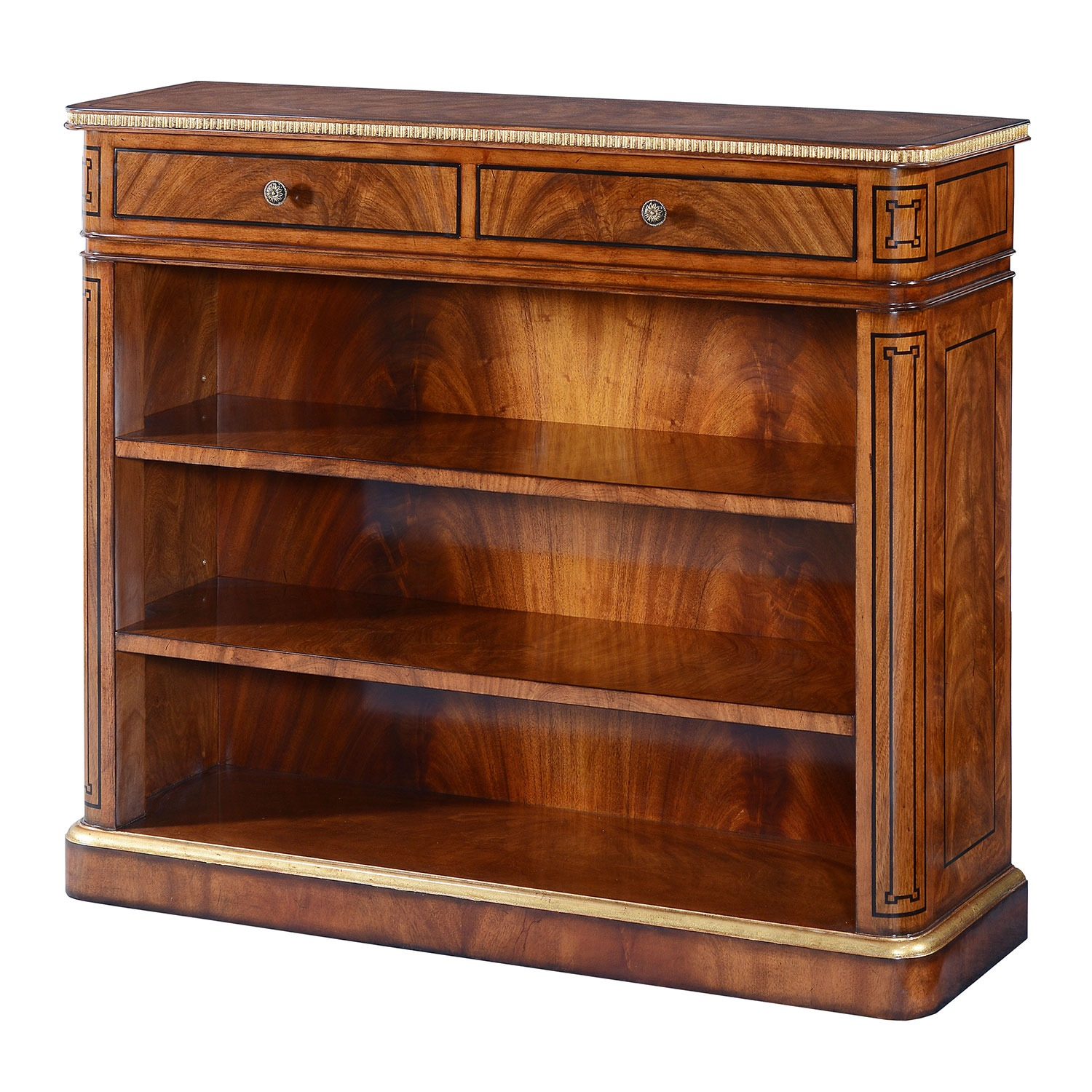 Thomas Hope style mahogany & gilded open bookcase - 42in