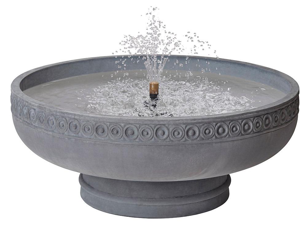 Romanesque bowl fountain on pedestal - Slate