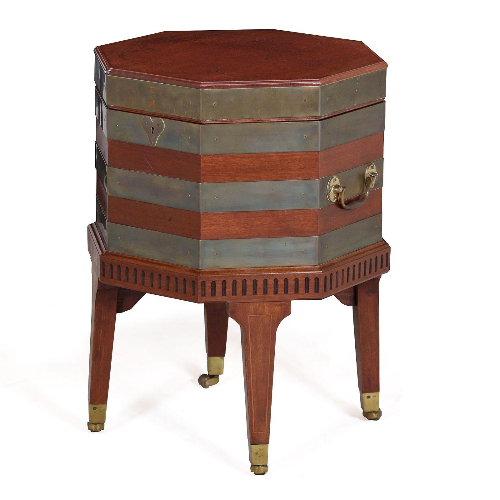 Octagonal wine box on stand