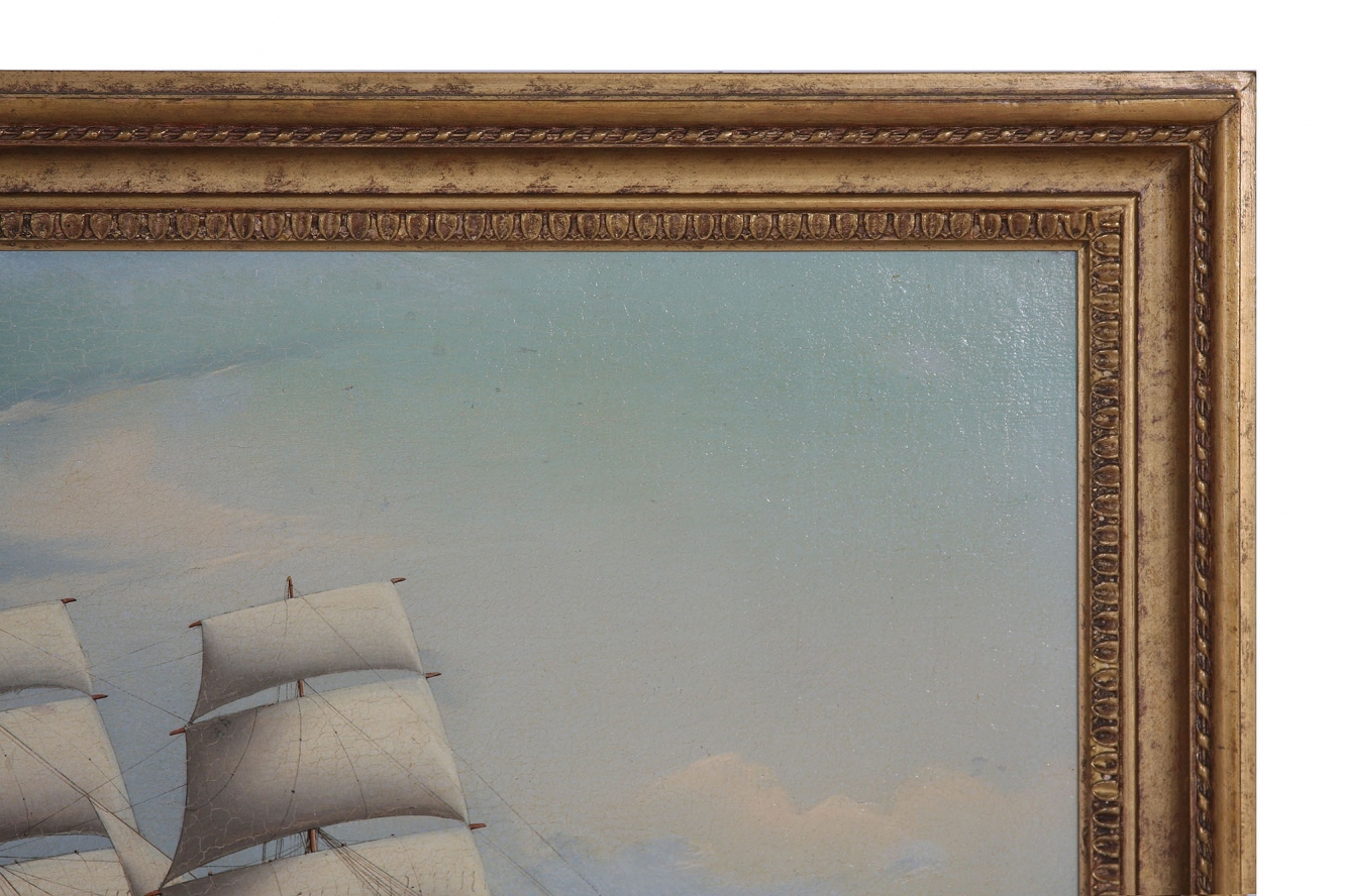 Original 19th Century tall ship oil painting
