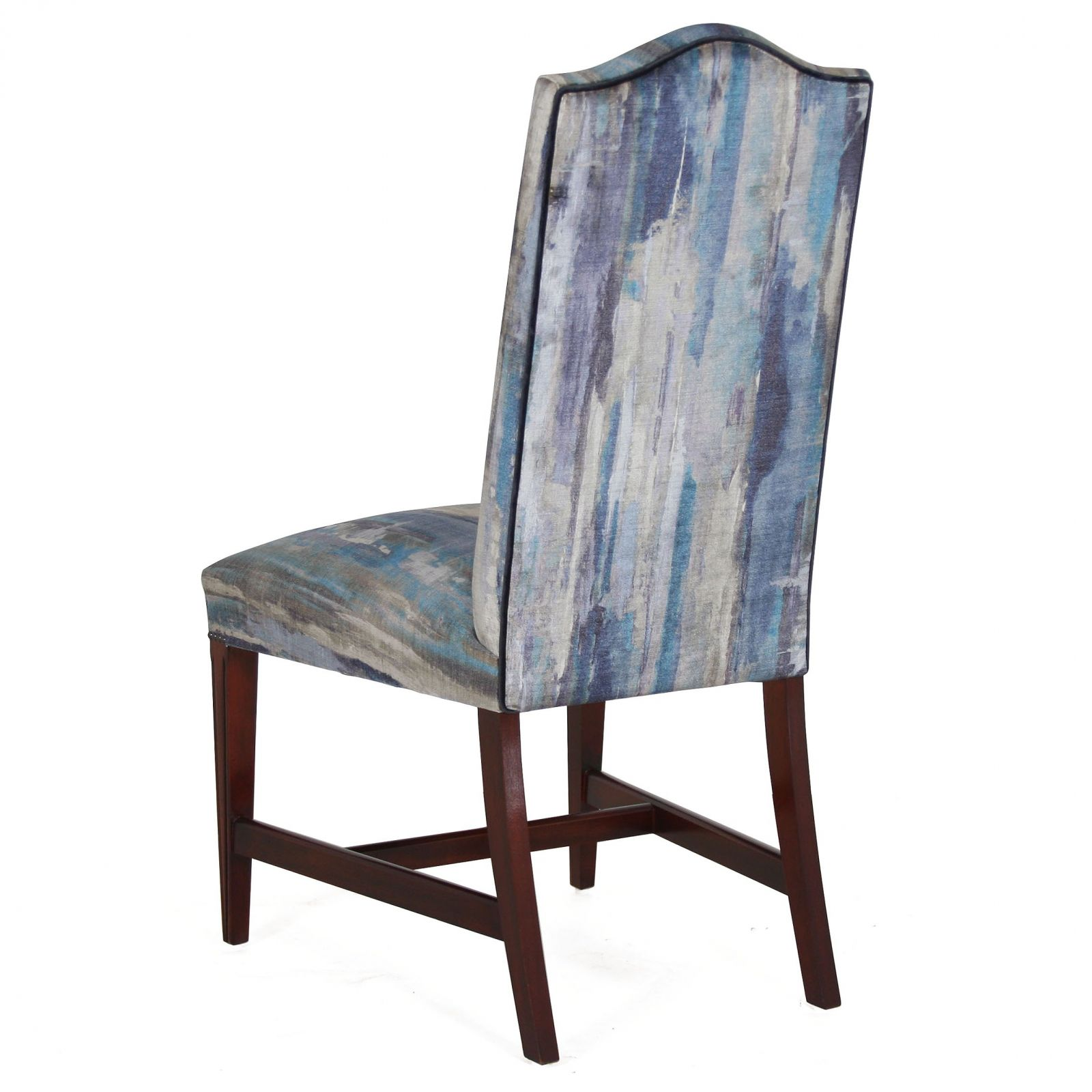 Mahogany upholstered back dining chair in Wemyss Monviso