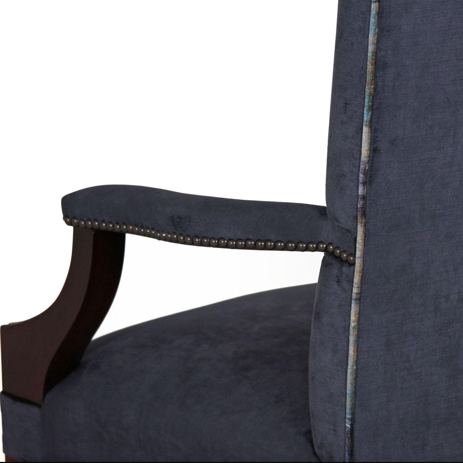 Mahogany upholstered back dining carver in Wemyss Kentia