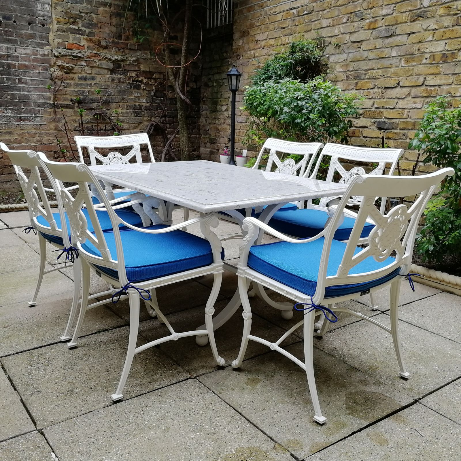Marble garden dining table with 6 chairs